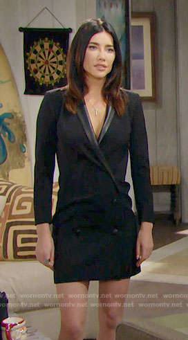 Steffy's black double-breasted dress on The Bold and the Beautiful