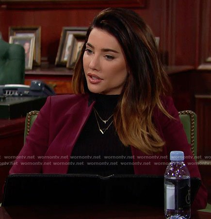 Steffy's burgundy blazer and triangle necklace on The Bold and the Beautiful
