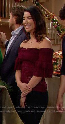 Steffy's purple lace off-shoulder top on The Bold and the Beautiful