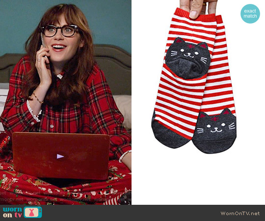 Red Striped Cat Socks worn by Zooey Deschanel on New Girl