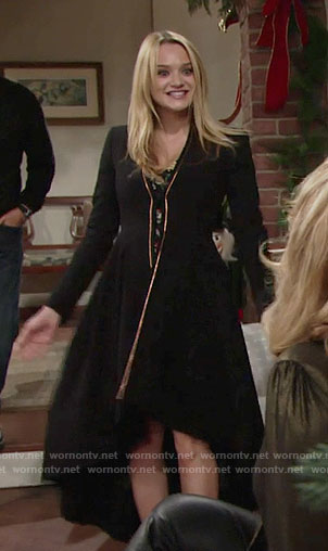 Summer's black high-low coat on The Young and the Restless