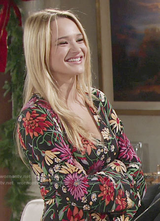 Summer's floral long sleeved dress on The Young and the Restless