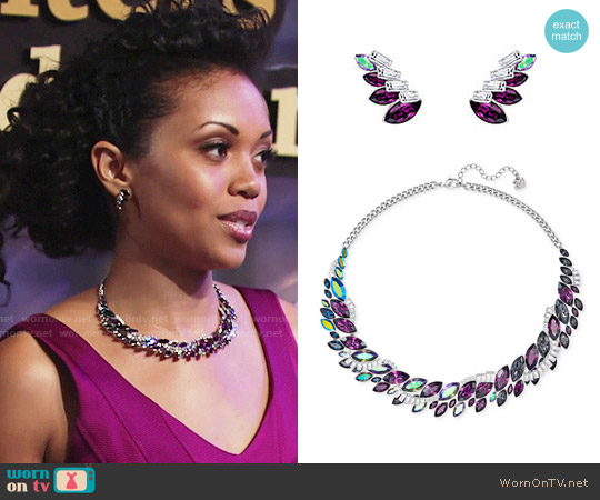 Swarovski Silver-Tone Rainbow Crystal Collar Necklace and Cosmic Earrings worn by Hilary Curtis on The Young & the Restless
