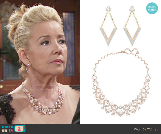 Swarovski Large Edify Necklace and Delta Earrings worn by Nikki Reed Newman on The Young & the Restless
