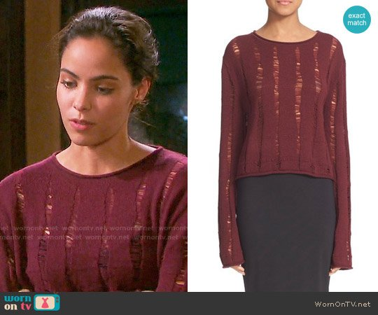T by Alexander Wang Drop Needle Merino Jersey Crop Sweater worn by Victoria Konefal on Days of our Lives