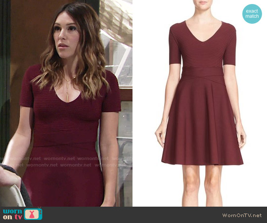 T By Alexander Wang Rib Knit Fit & Flare Dress worn by Elizabeth Hendrickson on The Young & the Restless