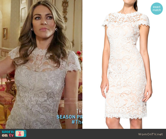 Tadashi Shoji Illusion Yoke Lace Sheath Dress worn by Elizabeth Hurley on The Royals