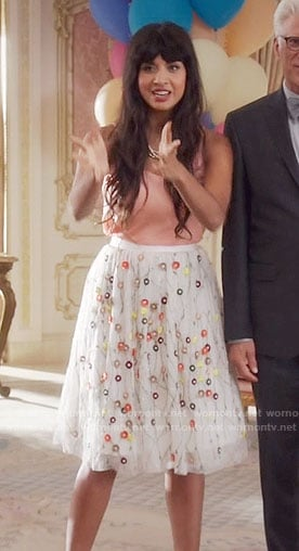 Tahani's white floral embroidered skirt on The Good Place