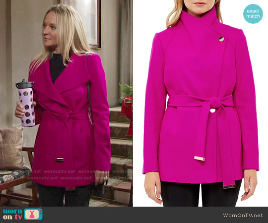 Ted Baker Elethea Short Belted Coat worn by Sharon Collins (Sharon Case) on The Young & the Restless