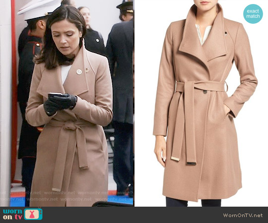 Ted Baker Wrap Coat in Camel worn by Emily Rhodes (Italia Ricci) on Designated Survivor