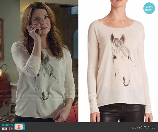Tess Giberson Silk / Wool / Cashmere Horse Print Sweater worn by Lorelai Gilmore (Lauren Graham) on Gilmore Girls