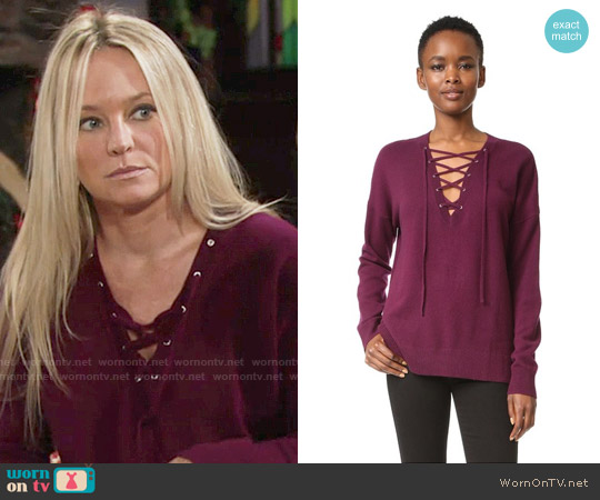 The Kooples Lace-Up Pullover worn by Sharon Case on The Young & the Restless