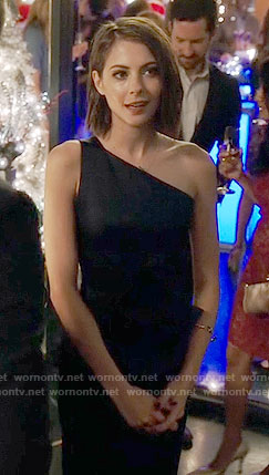Thea's navy one-shoulder dress on Arrow