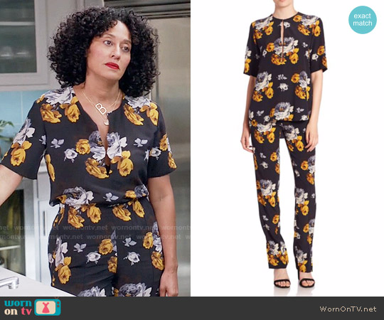 Theory Antazie Floral Top and Viewpine Floral Pants worn by Rainbow Johnson (Tracee Ellis Ross) on Blackish