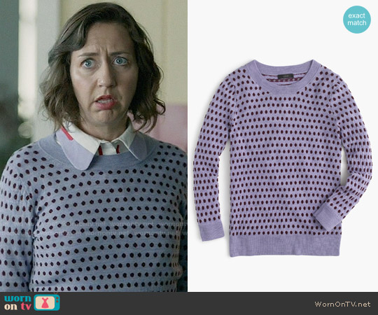J. Crew Tippi Sweater in Jacquard Dot in French Purple Cabernet worn by Kristen Schaal on Last Man On Earth