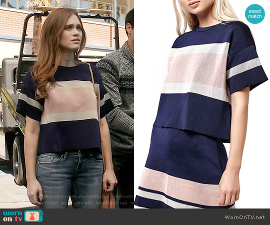 Topshop Modern Stripe Boxy Tee worn by Holland Roden on Teen Wolf