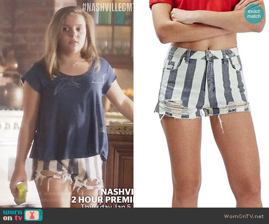 Topshop Stripe Distressed Denim Shorts worn by Maisy Stella on Nashville