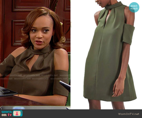 Topshop Cold Shoulder Keyhole Dress worn by Nicole Avant (Reign Edwards) on The Bold & the Beautiful