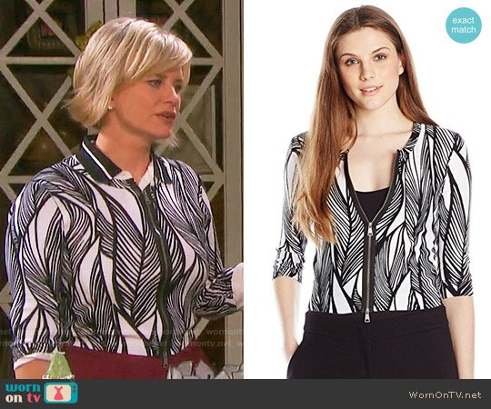Tracy Reese Undulating Leaves Zip Cardigan worn by Mary Beth Evans on Days of our Lives