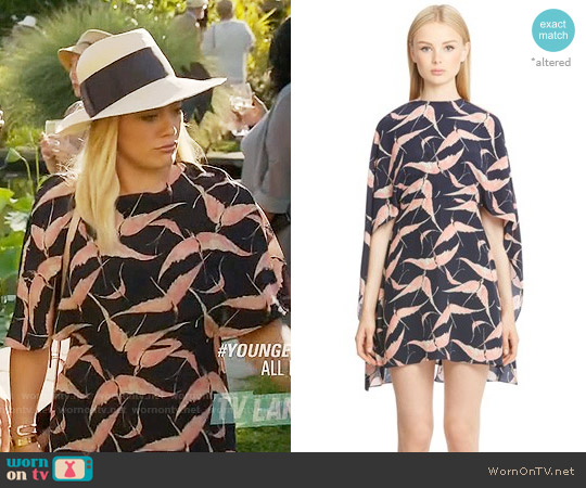 Valentino Bird Print Silk Cape Sheath Dress worn by Kelsey Peters (Hilary Duff) on Younger