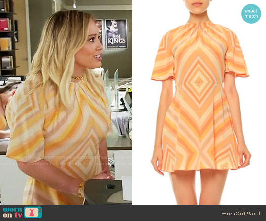 Valentino Mitered-Diamond Print Mini Dress worn by Hilary Duff on Younger