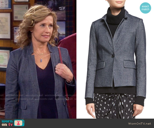 Veronica Beard Anaheim Herringbone Prep School Jacket worn by Nancy Travis on Last Man Standing