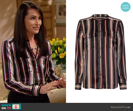 Veronica Beard Poppy Striped Blouse worn by Rena Sofer on The Bold & the Beautiful
