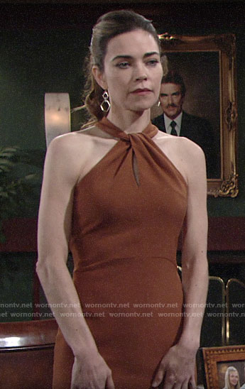 Victoria's tan twist neck dress on The Young and the Restless