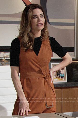 Victoria's suede sleeveless wrap dress on The Young and the Restless