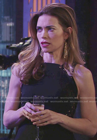 Victoria's black lace-up peplum gown on The Young and the Restless