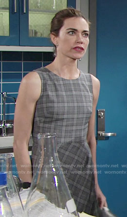 Victoria's grey plaid dress on The Young and the Restless
