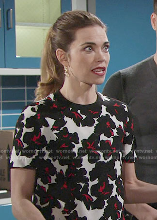 Victoria's black and red floral top on The Young and the Restless