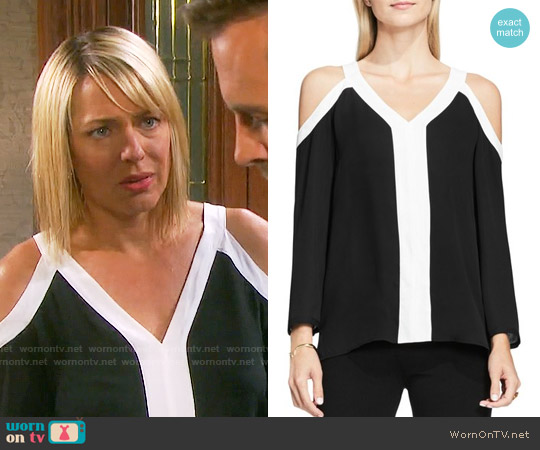 Vince Camuto Colorblock Cold Shoulder Blouse worn by Arianne Zucker on Days of our Lives