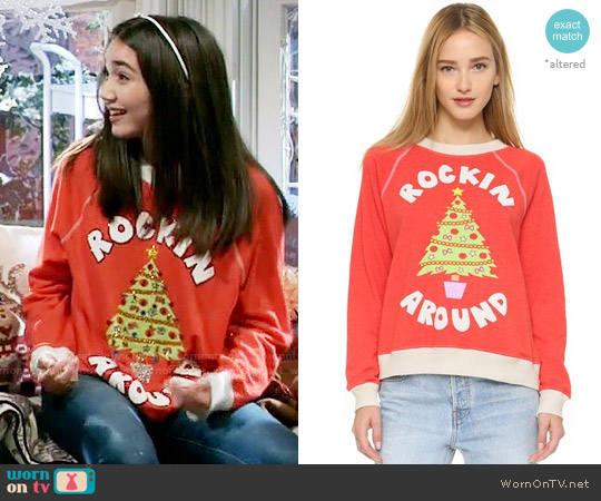 Wildfox Rockin' Around Sweatshirt worn by Rowan Blanchard on Girl Meets World