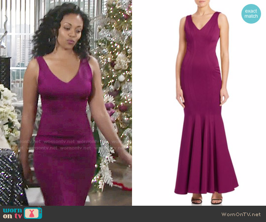 ZAC Zac Posen Ronnie Sleeveless Mermaid Gown worn by Hilary Curtis (Mishael Morgan) on The Young & the Restless