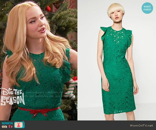Zara Guipure Lace Tube Dress worn by Dove Cameron on Liv & Maddie