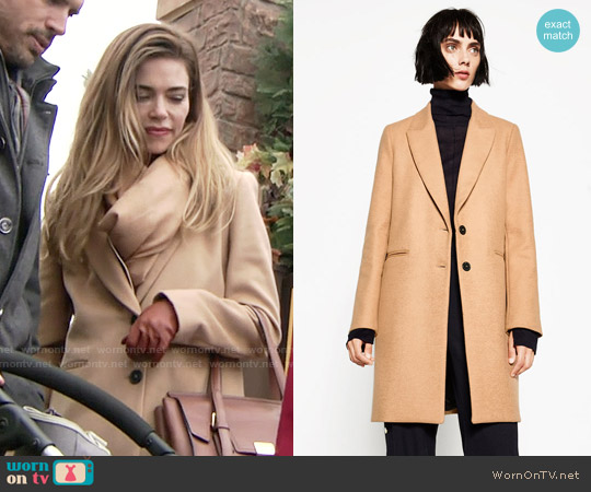 Zara Masculine Coat worn by Amelia Heinle on The Young & the Restless