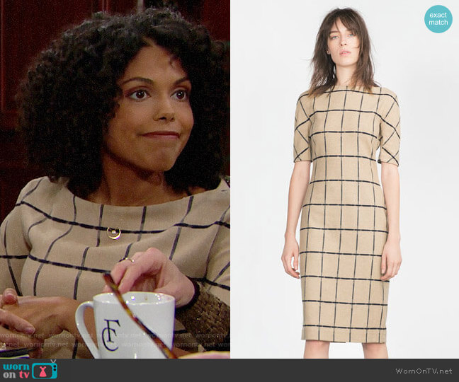 Zara Printed Tube Dress worn by Maya Avant (Karla Mosley) on The Bold & the Beautiful