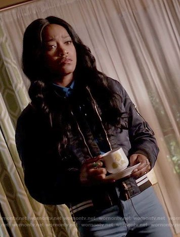 Zayday's blue bird print shirt and navy quilted bomber jacket on Scream Queens