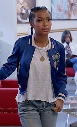 Zoey's blue bomber jacket on Black-ish