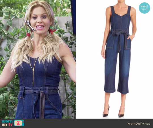 7 For All Mankind Saint Tropez Belted Jumpsuit worn by Candace Cameron Bure on Fuller House