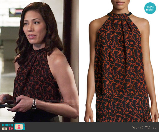 ALC Mari Top in Black / Rust worn by Michaela Conlin on Bones