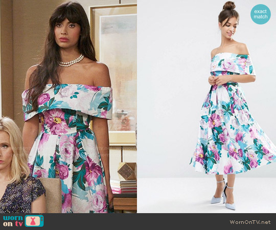 ASOS Off The Shoulder Midi Prom Dress In Bright Purple Floral worn by Jameela Jamil on The Good Place