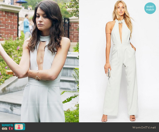 ASOS Plunge Jumpsuit with Neck Detail worn by Sofia Black D'Elia on The Mick