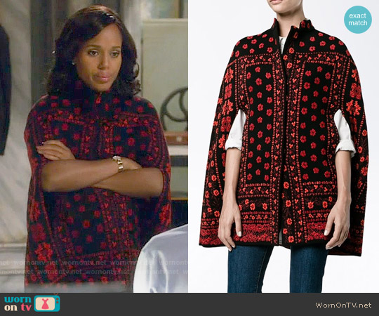 Alexander McQueen Floral Jacquard Knit Cape worn by Kerry Washington on Scandal