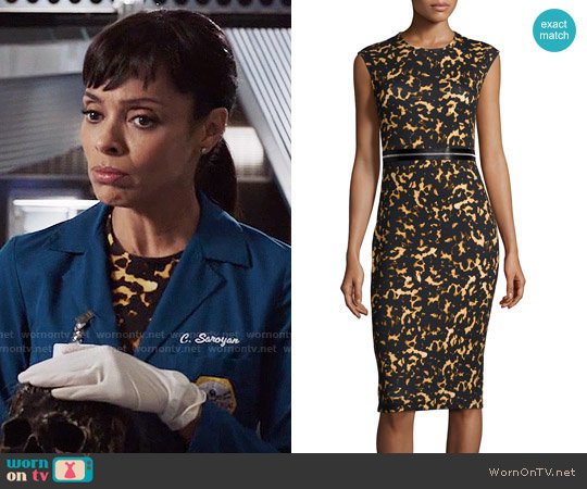 Alexander McQueen Printed Bodycon Zip Dress worn by Camille Saroyan (Tamara Taylor) on Bones