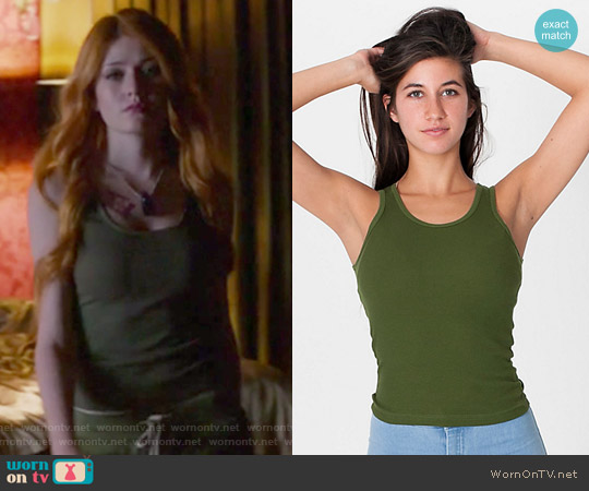 2x1 Rib U-Neck Tank by American Apparel worn by Katherine McNamara on Shadowhunters