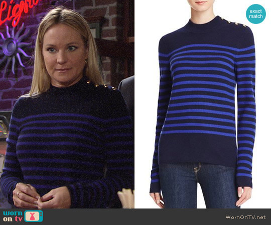 Aqua Stripe Mock Neck Cashmere Sweater worn by Sharon Case on The Young & the Restless