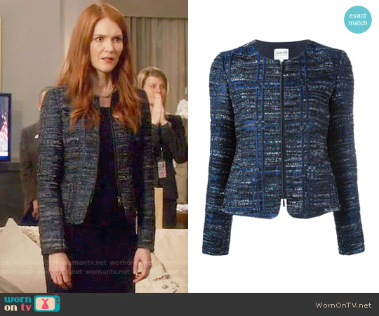 Armani Collezioni Zip Up Tweed Jacket worn by Abby Whelan (Darby Stanchfield) on Scandal