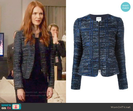 Armani Collezioni Zip Up Tweed Jacket worn by Darby Stanchfield on Scandal